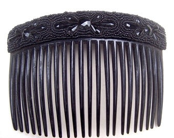 A French jet Victorian mourning hair comb hair ornament hair jewelry decorative comb hair pin hair pick (AAL)