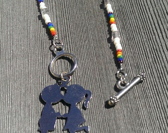 Boy and Girl Kissing Necklace front toggle clasp rainbow beads