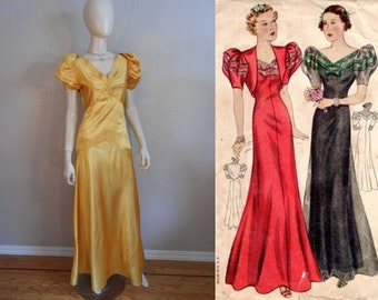 We Met Them in Nice - Vintage 1930s Marigold Yellow Satin Evening Gown Wedding Party Dress