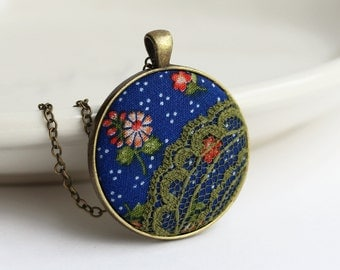 Hippie Necklace, Cobalt Blue Pendant, Moss Green Boho Jewelry, Floral Fabric And Lace