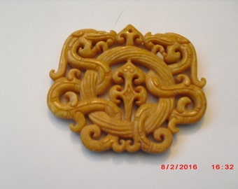 Magnificent Chinese Handwork Yellow Jade Carved Dragon Pendant