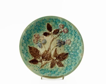 Antique Majolica Plate, Majolica Pottery, Large Majolica Platter with Berries, Country Cottage Decor, 1800s Pottery