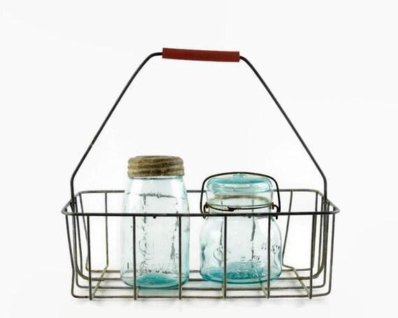 vintage milk bottle carrier wire basket oil bottle holder. Black Bedroom Furniture Sets. Home Design Ideas