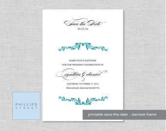 printable wedding save-the-date - DAMASK FRAME - personalized - custom wedding stationery