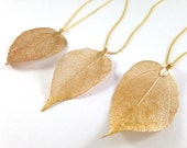 Natural Leaf Necklace. Leaf Pendant Necklace. Gold Plated Leaf. Silver Plated Leaf. Long Statement Necklace. Gift for Her. READY TO SHIP