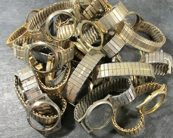 Watches for Parts or Repair Twenty (20) Assorted Watch Bands Cases No Guts Some Crystals Jewelry Art Watch Repair Supplies (F134)