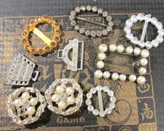 VINTAGE Slides Buckles RHINESTONE Eight (8) Assorted Lot Large Small Slides Rhinestone Slides Vintage Wedding Jewelry Supplies (J142)