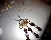 Art Nouveau Amethyst Crystal Pendant Necklace, RESERVED