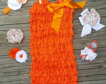 Lace Romper Baby Romper Lace Petti Romper 1st Birthday Outfit Petti Lace Romper Toddler Romper Girls Romper Orange Romper Newborn Romper