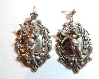 Large Cherub Angel Dangle Earrings Pierced Silver Dimensional Vintage Jewelry