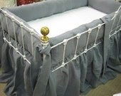 Balance for Kelsey---Farmhouse Style Washed Linen Crib Bedding--Slate Grey Tailored Bumpers and Storybook Crib Skirt