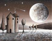 Bronze Moonlight – Instant Digital Download - Moon, Shooting Star, Lollipop Tree, Houses, Brown Black Taupe Beige Cream