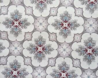 Vintage Wallpaper  - Geometric  Medallion Maroon Grey Blue 1930s - 1 yard