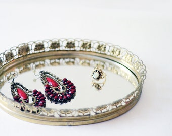 Extra Small Mirror Tray | Oval | Vintage | Dresser Bar Tray | Metal Frame | Filigree | Brass | Home Decor | Vintage Home