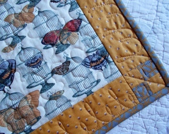 Butterflies and Bird Cages Table Runner/Quilted Table Runner