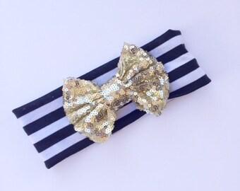 Striped Headband with Gold Sequin Bow Headband- Baby Headband- Toddler Headband- Girls Headband Sale Ready To Ship