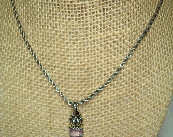 1980s Purple Amethyst Like Necklace on Twisted Rope Chain.