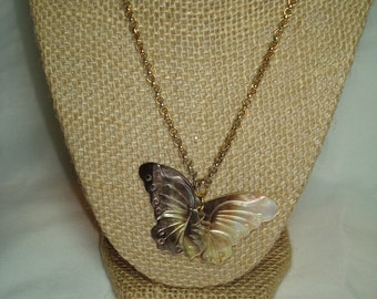 1980s Large Abalone Shell Butterfly Necklace.