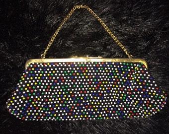 Vintage 60s 70s Colorful Plastic Bubble Beaded Bag Clutch Purse Handbag