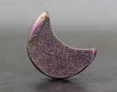 Crescent Moon Dazzling Gemstone, Flat Back Titanium Druzy, Crystallized Stone Cabochon Geode Slice Natural Stone Settings Bead Cab
