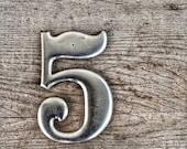 Number 5 Vintage Aluminum Metal Sign