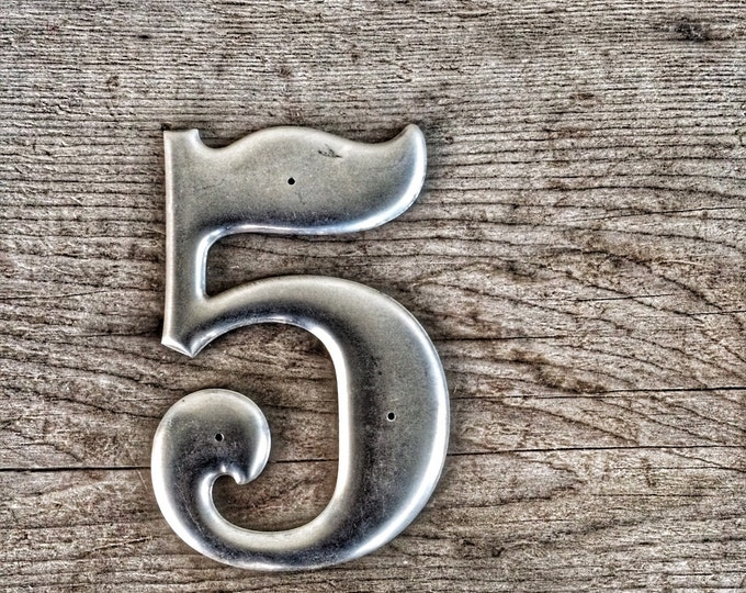 Number 5 Vintage Aluminum Metal Sign