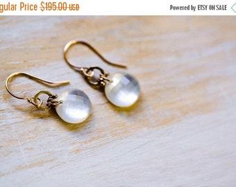 SUMMER SALE White Topaz 14K Solid Gold Earrings, Rose Cut Topaz - Raindrops - Bohemian Wedding, Summer Wedding, Winter Wedding - Ooak