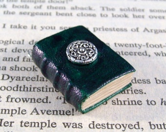 Miniature Book Necklace Charm Silver Ornate Celtic Leather Book Charm Dark Green
