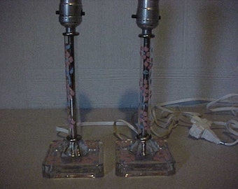 Painted Glass Dresser Lamps Pair Blue and Pink Flower Design