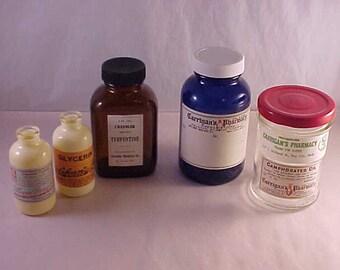 5 Vintage Glass Medicine Bottles with Vintage Pharmacy Labels Applied
