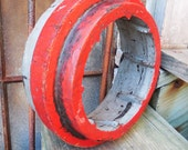 Antique wood Foundry Mold 11 1/2 inch round RED & GRAY Frame Circle Architectural salvage Machine age Industrial Rustic Repurpose supplies