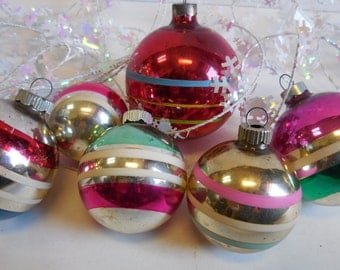Six Vintage Christmas Ornaments Mercury glass Hand painted Shiny Brite Striped Variety Holiday decoration Supplies