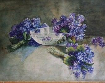 Vintage watercolor painting Lilacs purple flowers still life glass bowl Original art 14 x 20