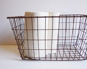 Vintage Metal basket large wire basket Industrial farmhouse barn salvage storage