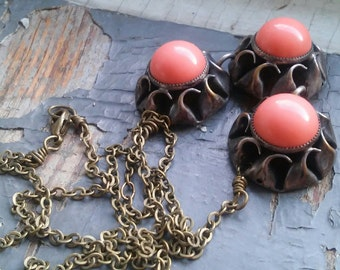 Pastry - vintage peach glass cab trio, linked antique metalwork, sterling silver bits, statement necklace