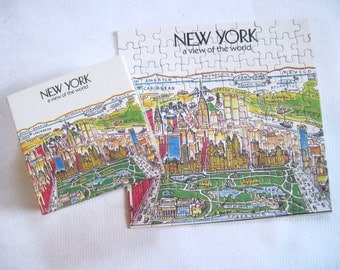 NEW YORK CITY - 1980s A View of the World mini Puzzle - vintage souvenir, nyc skyline, 80s cityscape, twin towers, - 100 pcs, complete