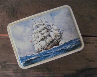 ocean schooner, vintage 1960s BENSONS assorted candies tin - sailboat, red + yellow anchors, nautical, stash box, ship, boat, treasure hunt
