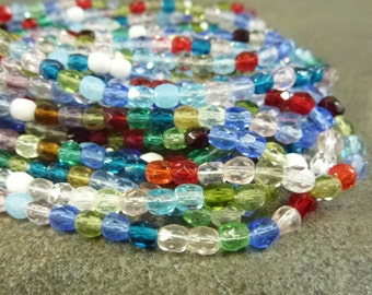 Czech Glass Firepolish Beads Assorted Colors Mix 4mm Faceted Round 50pc