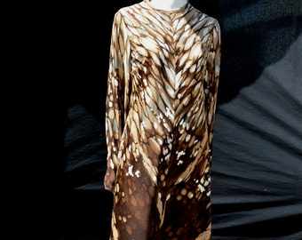 Vintage 70's HENRY LEE wild abstract pattern art to wear polyester dress s 12 by the kaliman