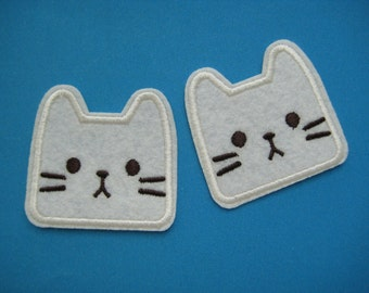 2 pcs Iron-on Embroidered Patch Cat Face 2 inch