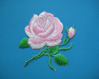 Iron-On embroidered Patch Pink Roses 3.5 inch
