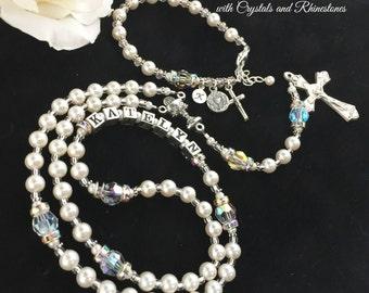 Beautiful Traditional Catholic Personalized First Communion Pearl, Swarovski Crystal & Rhinestone Rosary and Matching Rosary Bracelet Set