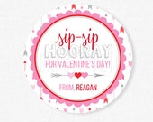 Sip Sip Hooray Valentine Tags, Valentine's Day Tag, Crazy Straw Tag, Valentine Cup Tag, Class Valentine Tag, Personalized