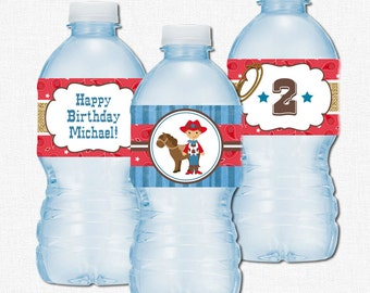 Cowboy Water Bottle Labels, Western Party Decorations, Cowboy Birthday Bottle Wraps, Red Paisley and Burlap
