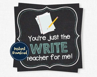 Teacher Appreciation Tags, You're Just Write Teacher, Teacher Gift Tag, Pencil and Paper Tag, Printable INSTANT DOWNLOAD