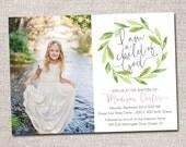 LDS Baptism invitation, modern baptism invitation, girl, blessing invitation, baptism invite, girl baptism invite: PRINTABLE  (Green Wreath)