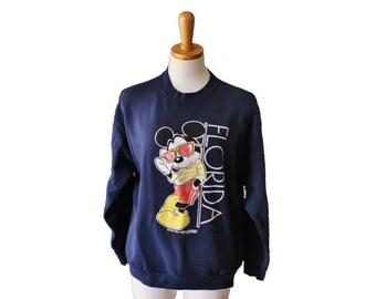 50% half off sale // Vintage 80s MICKEY MOUSE in Sunglasses Florida Sweatshirt - Women M - Velva Sheen
