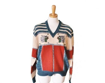 50% half off sale // Vintage 70s Indian Pattern Novelty Jumper - Women L Men M - hippie, boho, stripes, v neck