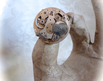 OOAK Steampunk Adjustable Ring Large Round Gold Vintage Watch Movement