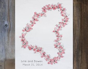 Wedding Guest Book Alternative, Aloha Design, Medium Lei, Original guest book fingerprint wedding art (ink pads available in our shop)